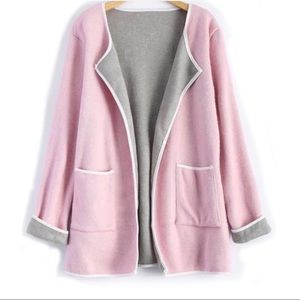 Piped Pocket Long Open Pink Cardigan